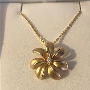 Na Hoku Plumeria 14k diamond pendant